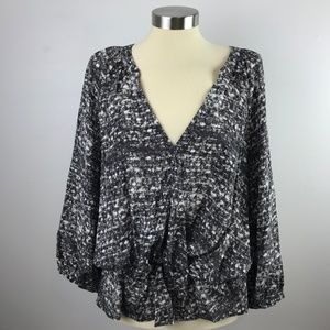 Joie Womens Large Blouse Silk Patterned